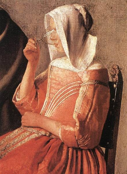 Vermeer A Lady Drinking and a Gentleman detail2